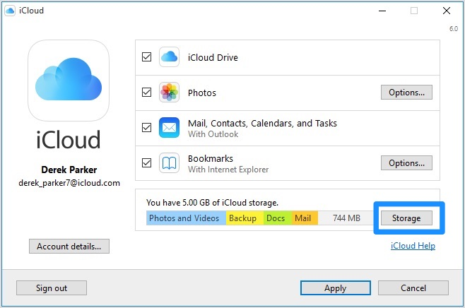 how to get icloud backup on pc