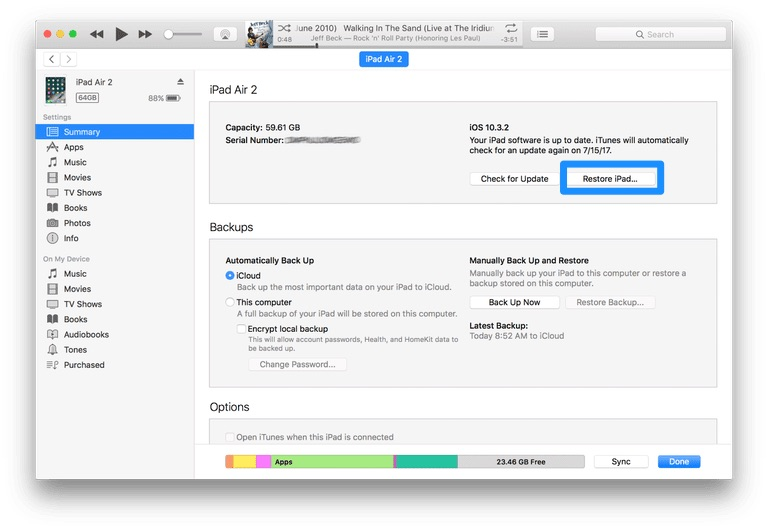My ipad says its running mac software free