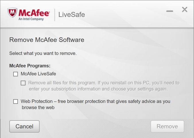 how to uninstall mcafee livesafe mac