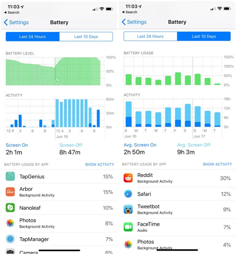 What's New in iOS 12 - New Battery Usage Bar